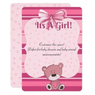 Convite cor-de-rosa Anouncement do chá de fraldas