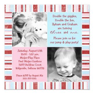 Convite cor-de-rosa & azul do aniversário da foto