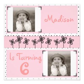Convite cor-de-rosa bonito da foto do aniversário