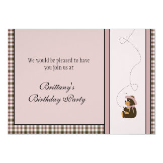 Convite cor-de-rosa bonito da xadrez do urso de convite 12.7 x 17.78cm