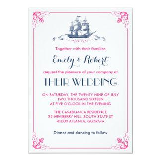 Convite cor-de-rosa branco do casamento da âncora