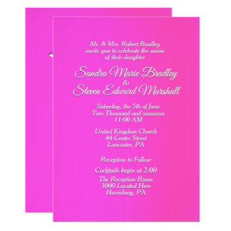 """Convite cor-de-rosa brilhante 5"""" do casamento x 7"""""""