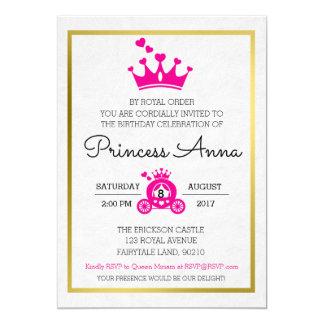 Convite cor-de-rosa chique da princesa Aniversário