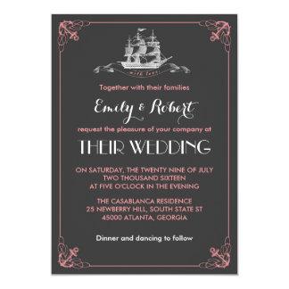 Convite cor-de-rosa cinzento do casamento da