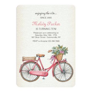 Convite cor-de-rosa da bicicleta