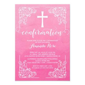 Convite cor-de-rosa da confirmação da cruz da