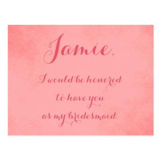 Convite cor-de-rosa da dama de honra do pergaminho cartão postal