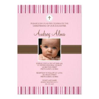 Convite cor-de-rosa da foto da listra do batismo -