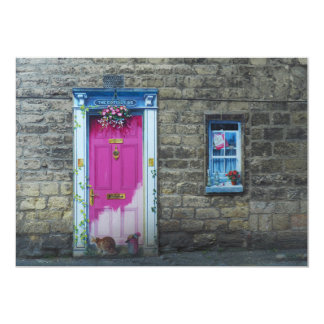 Convite cor-de-rosa da porta