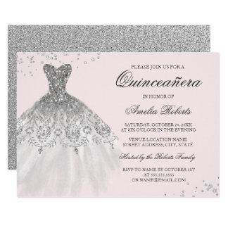 Convite cor-de-rosa de prata de Quinceanera do