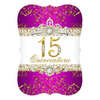 Convite cor-de-rosa de Quinceanera do encanto do