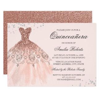 Convite cor-de-rosa de Quinceanera do vestido da