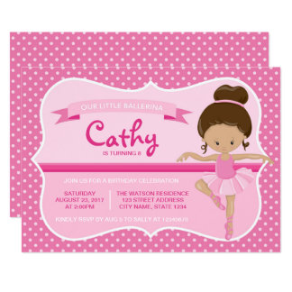 Convite cor-de-rosa do aniversário da bailarina de