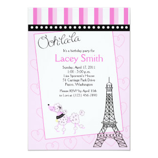 Convite cor-de-rosa do aniversário da caniche 5x7