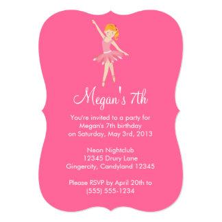 Convite cor-de-rosa do aniversário do balé