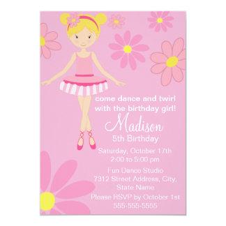 Convite cor-de-rosa do aniversário do dance party