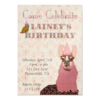 Convite cor-de-rosa do aniversário do lama