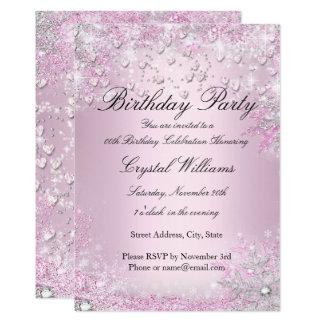 Cartão Convite cor-de-rosa do aniversário dos corações da