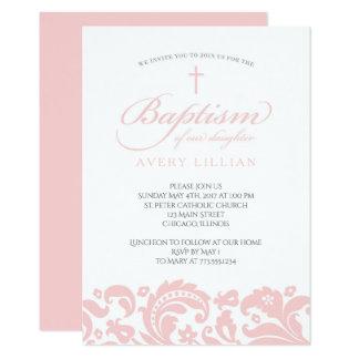 Convite cor-de-rosa do baptismo do damasco