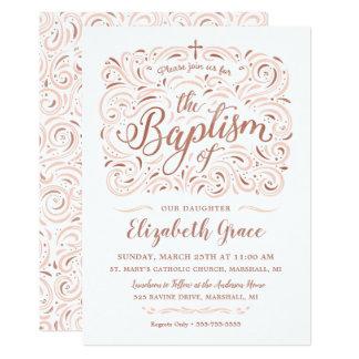 Convite cor-de-rosa do baptismo do ouro do falso