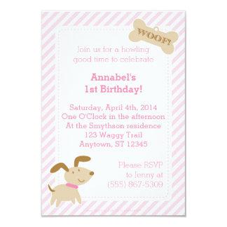 Convite cor-de-rosa do cão de filhote de cachorro convite 8.89 x 12.7cm