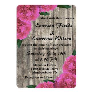 Convite cor-de-rosa do casamento da peônia