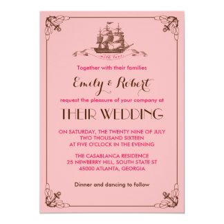 Convite cor-de-rosa do casamento de praia da