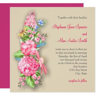 Convite cor-de-rosa do casamento do buquê do