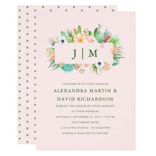 Convite cor-de-rosa do casamento do Succulent do