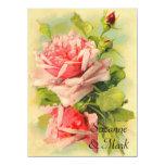 Convite cor-de-rosa do casamento do vintage convite 13.97 x 19.05cm