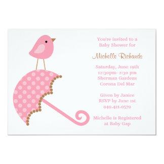 Convite cor-de-rosa do chá de fraldas