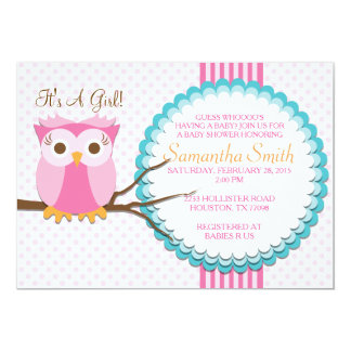 Convite cor-de-rosa do chá de fraldas da coruja convite 12.7 x 17.78cm