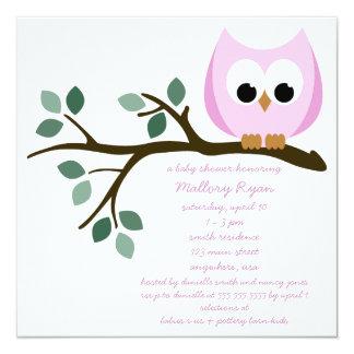 Convite cor-de-rosa do chá de fraldas da coruja convite quadrado 13.35 x 13.35cm