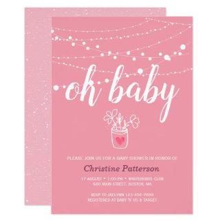 Convite cor-de-rosa do chá de fraldas das luzes