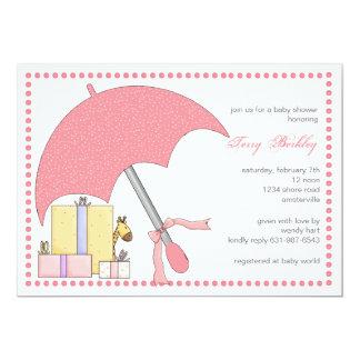 Convite cor-de-rosa do chá de fraldas do