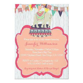 Convite cor-de-rosa do chá de fraldas do circo do