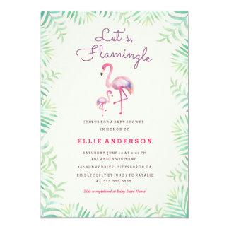 Convite cor-de-rosa do chá de fraldas do flamingo