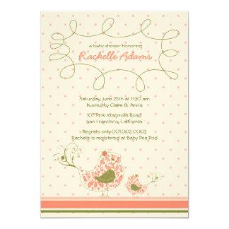 Convite cor-de-rosa do chá de fraldas do pássaro
