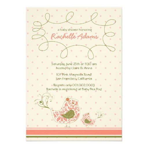Convite cor-de-rosa do chá de fraldas do pássaro d