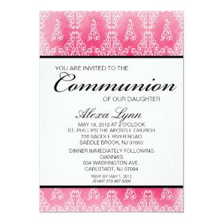 Convite cor-de-rosa do comunhão das meninas do