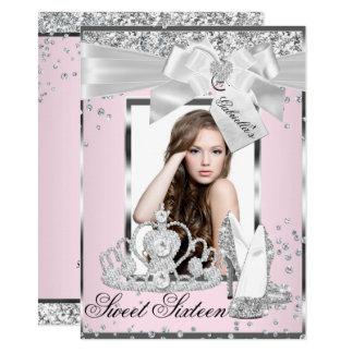 Cartão Convite cor-de-rosa do doce 16 da foto da tiara do
