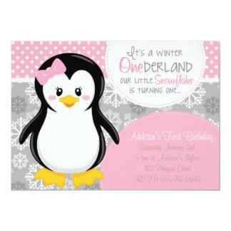Convite cor-de-rosa do pinguim de ONEderland do