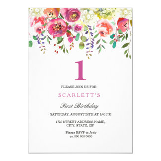 Convite cor-de-rosa do primeiro aniversario da
