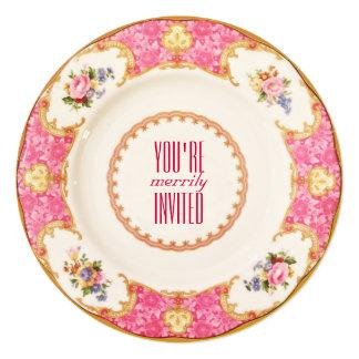 Convite cor-de-rosa do tea party do vintage -