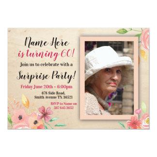 Convite cor-de-rosa do vintage da foto da flor do