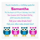 Convite cor-de-rosa e azul bonito do aniversário d