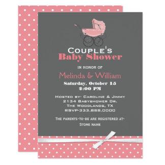 Convite cor-de-rosa e cinzento chique do chá de