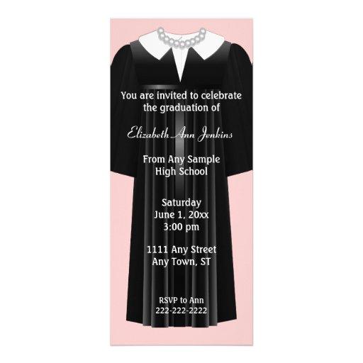 Convite cor-de-rosa e preto da graduação das senho