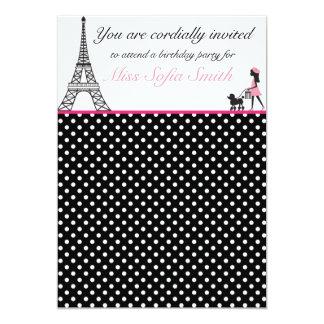 Convite cor-de-rosa e preto do aniversário da convite 12.7 x 17.78cm