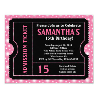 Convite cor-de-rosa e preto do bilhete, alguma